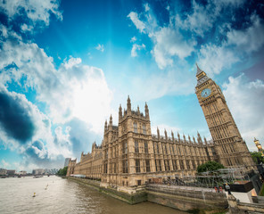 Houses of Parliament and River Thames, London. Beautiful wide an