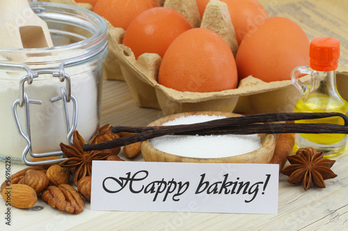 Happy baking card with baking ingredients