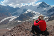 Mountaineer looking at view in Andes