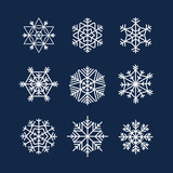 Abstract symmetry winter snowflakes collection poster