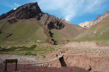 Bridge in Andes Mountains
