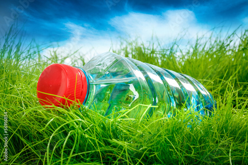 canvas print picture Water bottle on the grass.