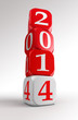 new year 2014 3d red and white box tower
