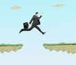 man with briefcase jumping