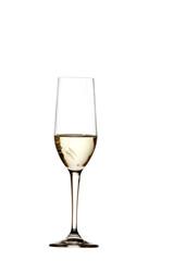 Bicchiere con vino bianco sfondo bianco