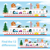 Kids puzzle ship to spot the 12 differences