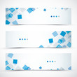 Three blue business abstract banner headers vector eps10
