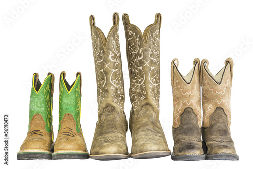 Three Pairs of Cowboy Western Boots