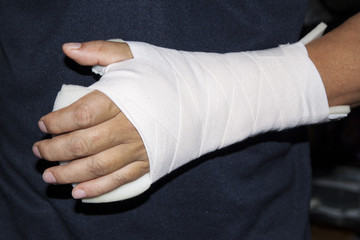 Wrist injury supprted with splint