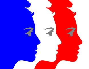 Visage de Marianne Bleu Blanc Rouge Francais