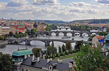 Bridges in Prague on river of Vltava