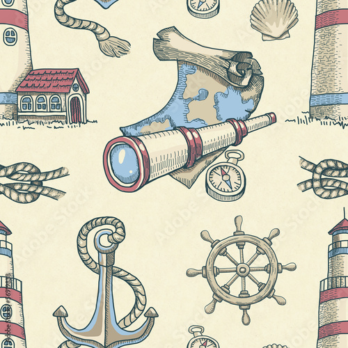 Hand drawn nautical seamless pattern