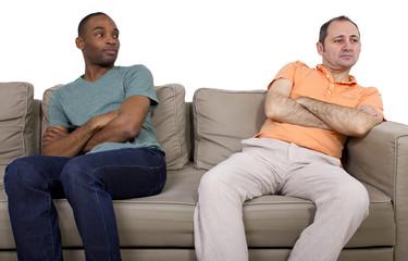 Interracial gay couple going through relationship problems