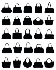 Silhouettes of women's purse-vector illustration
