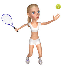Girl in white clothes plays tennis. Isolated on white. 3D