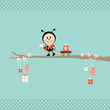 Ladybeetle Gift Pulling Handcart Tree Retro Dots