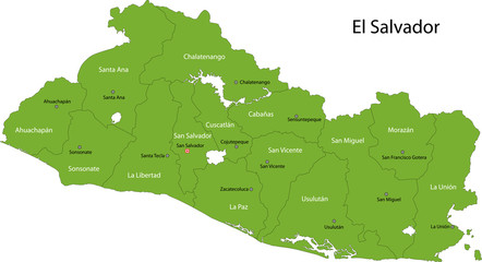 Green El Salvador map