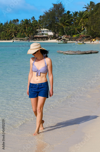 Young Happy Woman on Vacation in Pacific Island