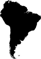 Black South America map