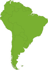 Green South America map