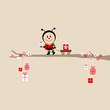 Ladybeetle Gift Pulling Handcart Tree Beige