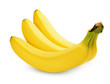 Three ripe bananas isolated on white with clipping path
