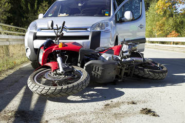 Accident Motorbike with a car