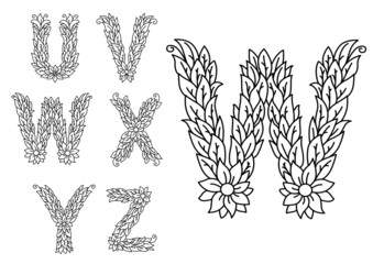 U, v, w, x, y and z floral letters