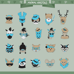 Animals Hipster Set - Isolated On Gray Background