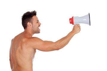 Muscular man with a megaphone