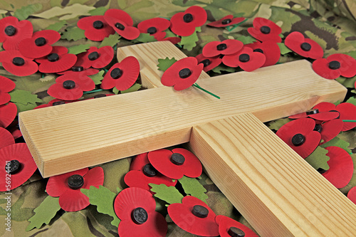 Foto op Canvas Poppy cross and poppies