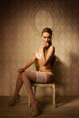 Sexual woman in a luxurious lingerie