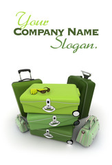 Elegant green luggage kit