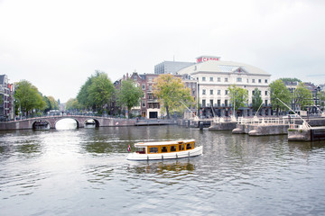 old boat on river Amstel near Carre