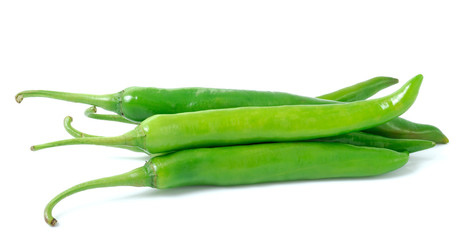 green hot chili pepper isolated on white background