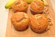 Fresh Banana Muffins on a Cutting Board