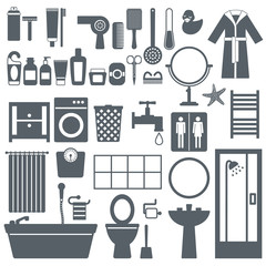 Bathroom elements silhouette icons set