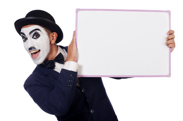 Funny man with blank board
