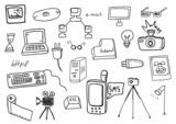 Vector hand drawn technology doodles
