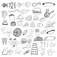 Set of food doodles