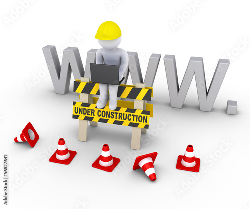 Under construction sign and worker in front of www letters