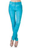Woman legs in blue trousers