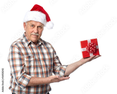 Happy Christmas man with xmas gift.