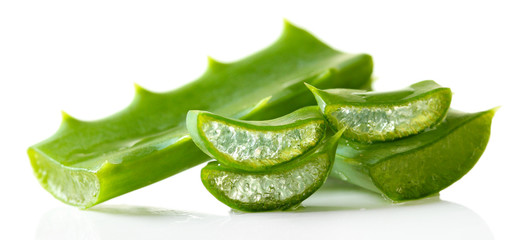 Aloe leaves, isolated on white
