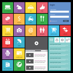 Flat Web Design, elements, buttons, icons. Templates for website