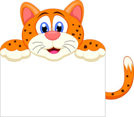 Cute cheetah cartoon with blank sign