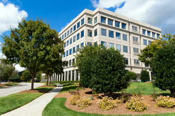 Suburban office building in a generic parkway setting