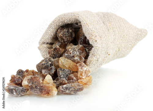 Caramelized sugar in sack isolated on white