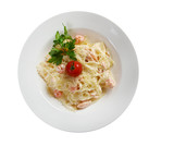 Farfalle pasta with salmon
