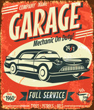 Grunge retro car service sign. Vector illustration.